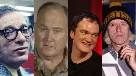 Alguns membros da Mensa: da esquerda para a direita, Isaac Asimov, Norman Schwarzkopf, Quentin Tarantino e Jimmy Savile.