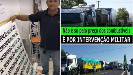 Imagens circulando em grupos de motoristas associam intervenção militar à greve dos caminhoneiros