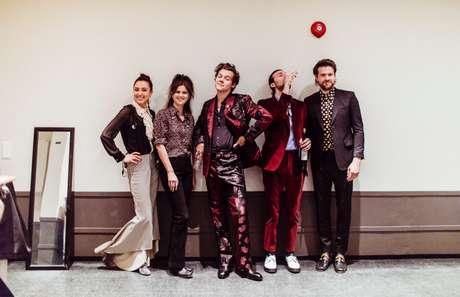 Harry Styles e sua banda em Oslo, durante a turnê mundial