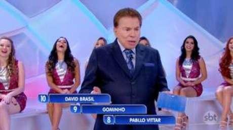 O apresentadorSilvio Santos durante o polêmico momento.