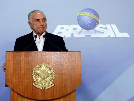 Presidente Michel Temer durante pronunciamento em Brasília 27/05/2018 REUTERS/Ueslei Marcelino