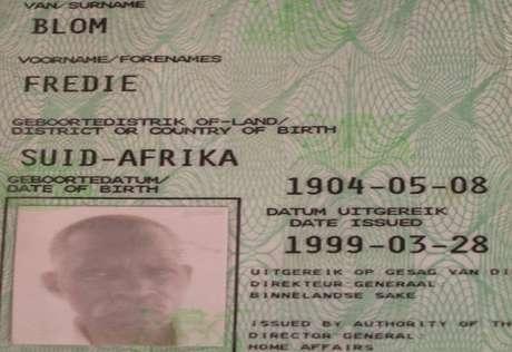 Autoridades sul-africanas asseguram que a data de nascimento de Fredie Blom está correta, mas ele ainda não foi declarado o homem mais velho do mundo