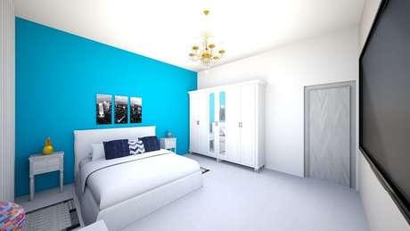 34. Lustres para quarto de casal azul e branco