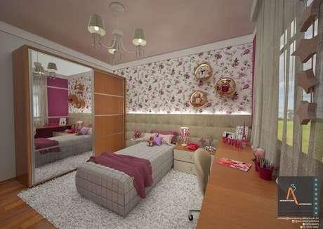 38. Decoração com lustres para quarto feminino