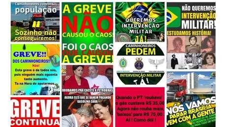 Algumas das imagens que mais circularam em grupos de WhatsApp sobre a greve de caminhoneiros / Imagem: Reprodução Projeto Eleições Sem Fake e grupos de WhatsApp