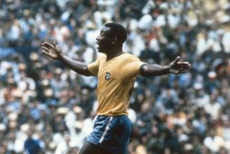 Pelé na Copa do Mundo de 1970, vencida pelo Brasil no México (Reprodução)