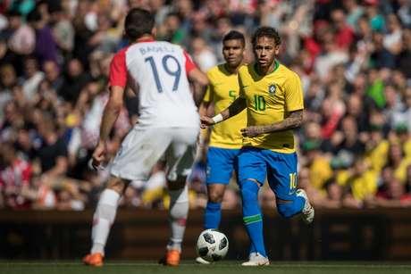 Neymar durante jogo amistoso entre Brasil x Croacia realizado no estadio de Anfield, em Liverpool