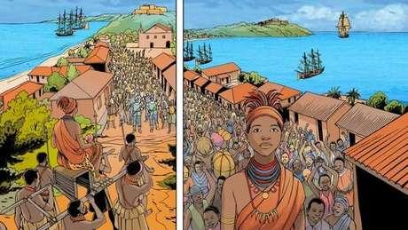 Nesta história em quadrinhos criada pela Unesco, Njinga descobre que Luanda se tornou um dos maiores centros de exportação de escravos da África