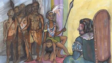 Quando foi negociar paz com autoridade portuguesa, Njinga sentou-se sobre as costas de sua criada para falar com ele em pé de igualdade
