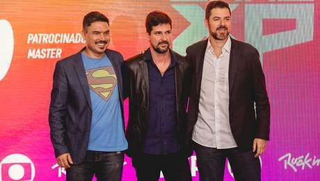 Pierre Mantovani (CCXP), Luis Justo (Rock in Rio) e Leandro Valentim (Globo)