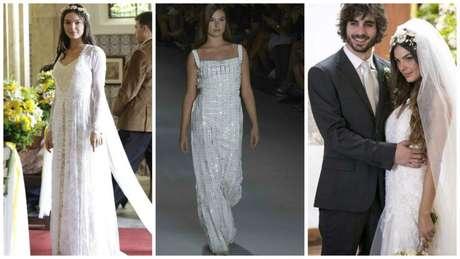 Isis Valverde com três vestidos de noiva (Fotos: Reprodução/TV Globo/AgNews)