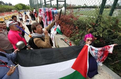 Palestinos protestaram contra o amistoso da Argentina contra Israel
