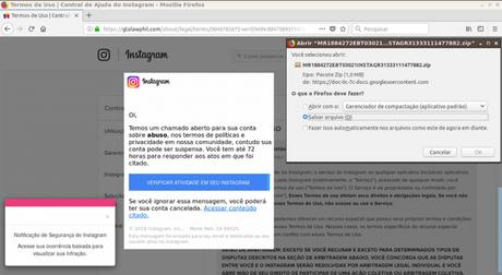 Comunicado falso de violação dos termos de uso no Instagram é obra de cibercriminosos (Captura de Tela: Reprodução / Defesa Digital)