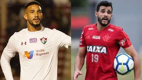 João Carlos, do Fluminense, e Henrique Dourado, do Flamengo (Foto: Guilherme Artigas/Fotoarena e Gilvan de Souza / Flamengo)