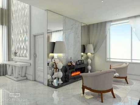 7. Decoração de sala de estar sala com lareira elétrica revestida com granito preto