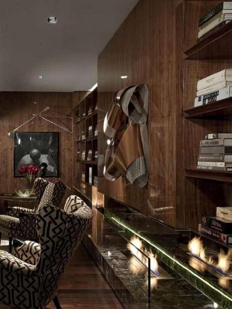 40. Modelo de lareira ecológica para sala de estar decorada