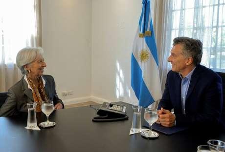 Diretora-gerente do FMI, Christine Lagarde, e presidente argentino, Mauricio Macri
