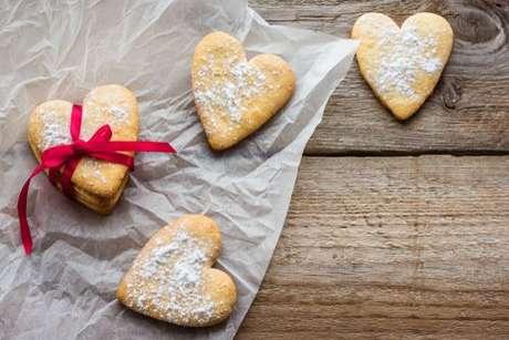 Biscoitos em formato de coração