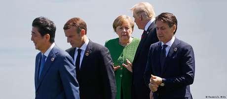 Líderes do G7, entre eles Macron, Merkel e Trump, se reuniram em La Malbaie, no Canadá
