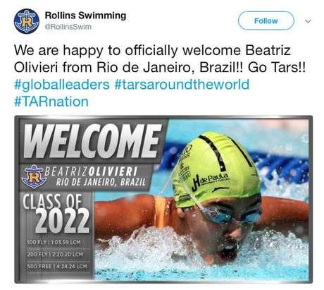 Rollings College, da Flórida, celebrou no Twitter chegada da brasileira Beatriz Olivieri, que é nadadora