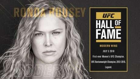 Ronda Rousey, ex-campeã, será a primeira mulher a entrar no Hall da Fama do Ultimate (Foto: Divulgação / UFC)