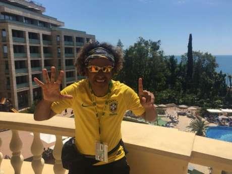 Wallace no hotel onde a Seleção Brasileira está concentrada