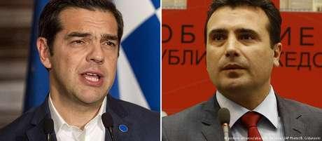 Premiês grego, Alexis Tsipras (esq.), e macedônio, Zoran Zaev, anunciaram a decisão histórica