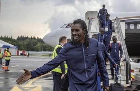 Seleção de Senegal desembarcou nesta terça-feira em Kaluga, na Rússia (Foto: Divulgação)