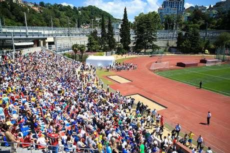 Arquibancada do estádio em que a Seleção treinou, em Sochi