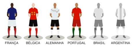 ilustração com jogadores da Bélgica, França, Alemanha, Portugal e França
