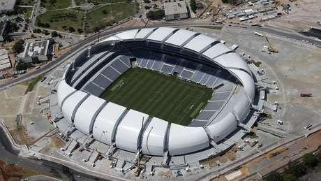 Projeto de drenagem na Arena das Dunas, em Natal, continua incompleto quatro anos depois da Copa de 2014