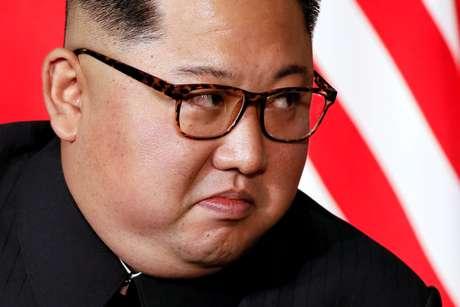 Líder norte-coreano, Kim Jong Un, durante encontro com Donald Trump em Cingapura 12/06/2018 REUTERS/Jonathan Ernst