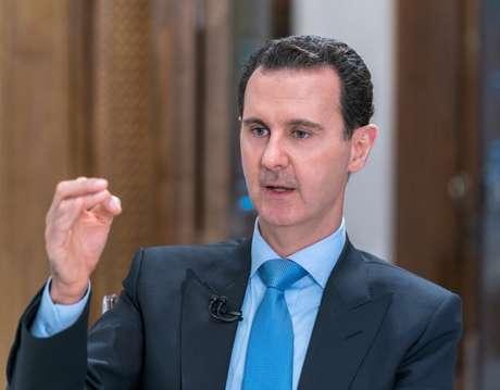 Bashar al-Assad durante entrevista ao canal al-Alam News em Damasco  13/6/2018    Divulgação/Sana