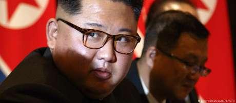 O líder norte-coreano, Kim Jong-un, durante encontro com o presidente americano, Donald Trump