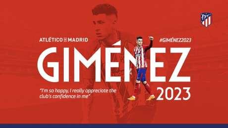 Giménez renova com o Atlético de Madrid até 2023 (Foto: Reprodução / Twitter)