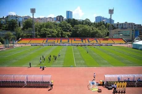 O estádio onde a Seleção Brasileira treina, em Sochi