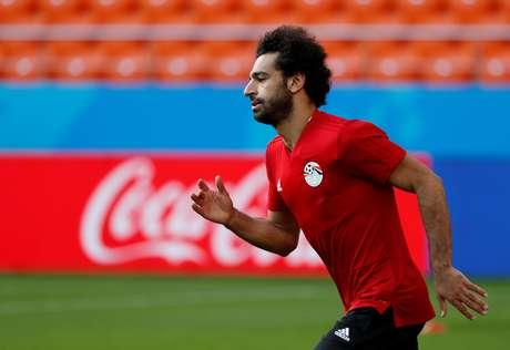 O atacante Mohamed Salah em treino com a seleção do Egito