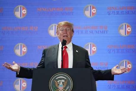 Donald Trump se pronuncia durante cúpula com Kim Jong-un