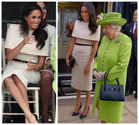Meghan Markle e a rainha Elizabeth II em viagem ao Norte da Inglaterra (Fotos: Reprodução/Instagram/@kensigtonroyal