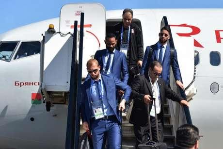 Jogadores da Tunísia chegam à Rússia para disputa para Copa do Mundo (Foto: Vasily Maximov / AFP)