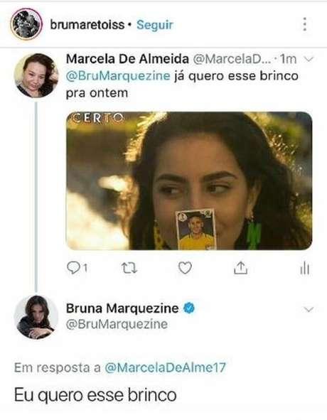 Resposta da Bruna Marquezine no Twitter (Foto: Reprodução)