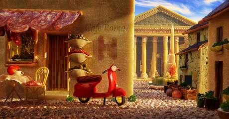 Salame, macarrão e queijo parmesão reconstroem uma rua de paralelepípedos e o Panteão romano