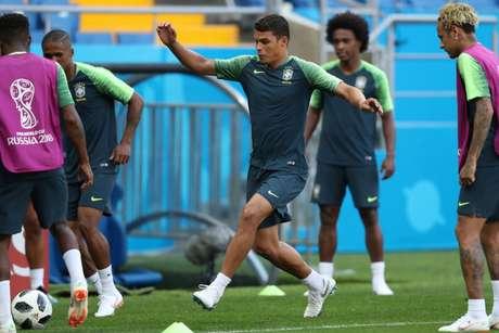 Thiago Silva em treino da Seleção durante a Copa (Foto: Lucas Figueiredo/CBF)