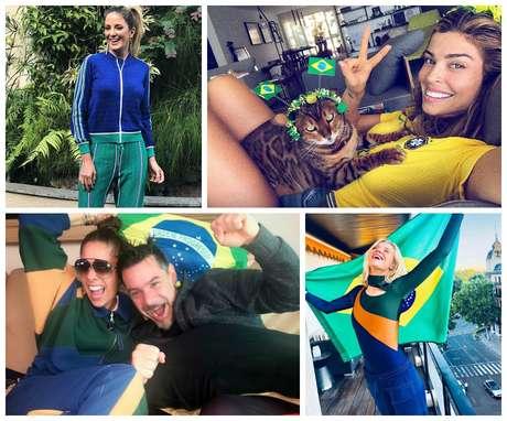 Famosas com seus looks de torcedoras (Fotos: Reprodução/Instagram)