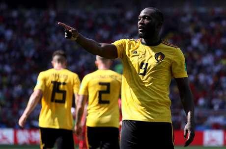 Lukaku comemora seu primeiro gol, o segundo da Bélgica