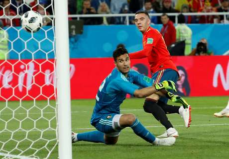 Iago Aspas, da seleção da Espanha, comemora gol marcado contra Marrocos na Copa do Mundo 25/06/2018 REUTERS/Gonzalo Fuentes