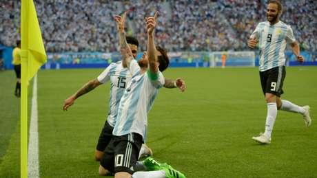 Messi comemora seu primeiro gol na Copa de 2018
