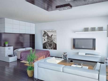 5 – Studio apresenta visual neutro com vaso de planta e quadro em destaque.