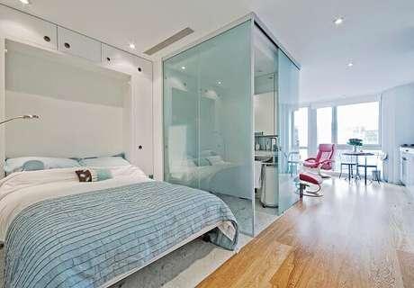 1- Apartamento Studio apresenta conforto em um espaço compacto.