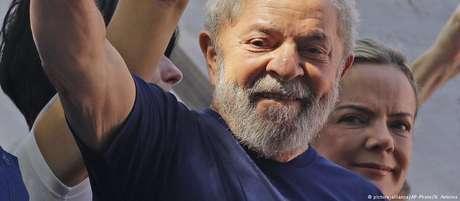 O ex-presidente Lula, em comício antes de ser preso em São Bernardo, em 7 de abril